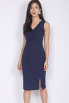 Geneva Pleated Waist Pencil Dress In Navy Blue