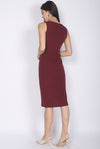 Geneva Pleated Waist Pencil Dress In Wine Red
