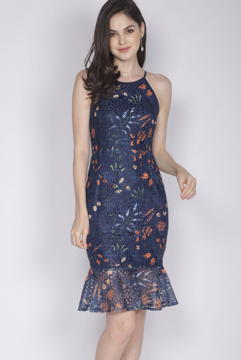 Genie Floral Lace Mermaid Dress In Navy Blue