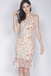 Genie Floral Lace Mermaid Dress In Peach