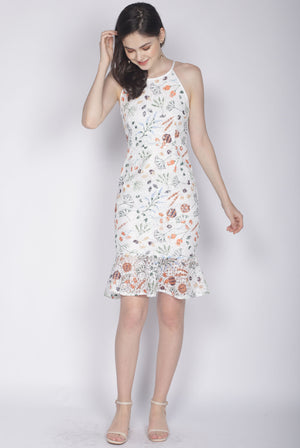 Genie Floral Lace Mermaid Dress In White