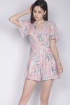 Genise Buttons Sleeved Romper In Pink