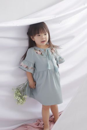 *Kids* Genoveva Embro Tassel Dress In Seafoam