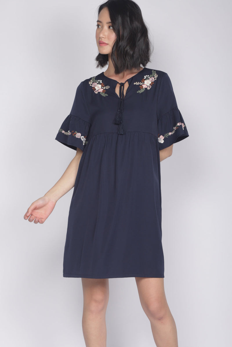 Genoveva Embro Tassel Dress In Navy Blue