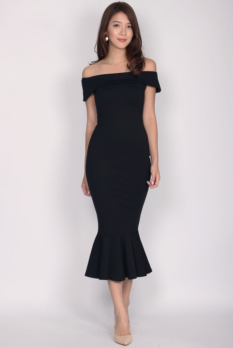 *Restock* Georgina Off Shoulder Mermaid Dress In Black