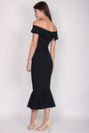 *BACKORDER II* Georgina Off Shoulder Mermaid Dress In Black