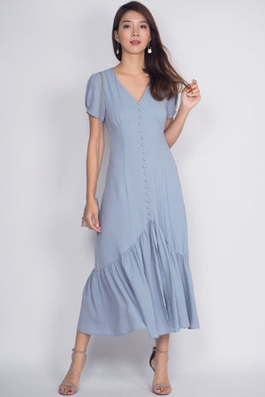 Geovana Buttons Slit Mermaid Maxi Dress In Ash Blue