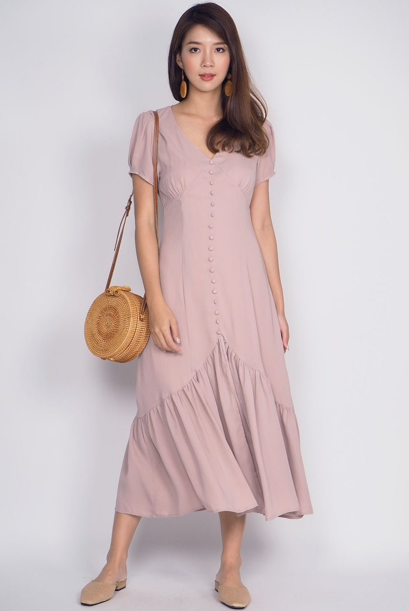 *Restock* Geovana Buttons Slit Mermaid Maxi Dress In Sand Pink