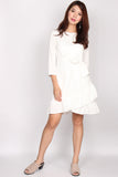 Gerlyn Ruffle Waist Tie Dress In White