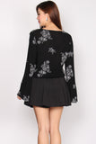 Gianna Embro Flare Sleeve Top In Black
