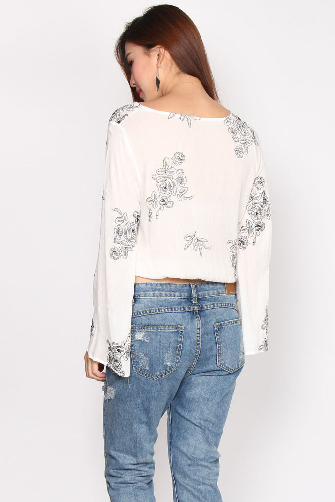 Gianna Embro Flare Sleeve Top In White