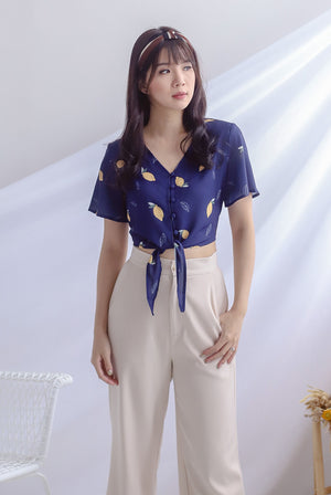 Gilly Lemon Buttons Tie Up Top In Navy Blue