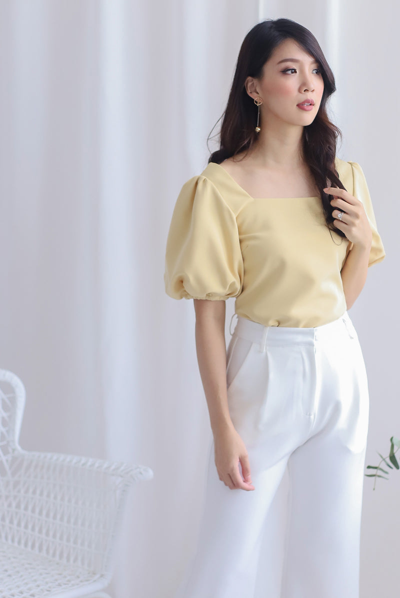 Ginette Puffy Sleeve Square Neck Top In Mustard