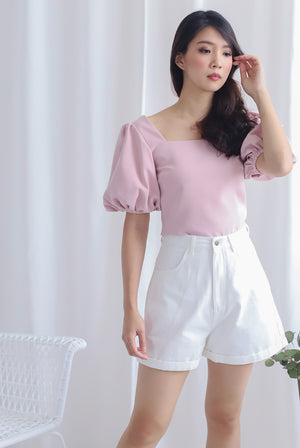 Ginette Puffy Sleeve Square Neck Top In Pink