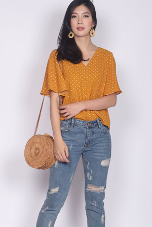 Ginnie Polkadot Sleeved Buttons Top In Mustard