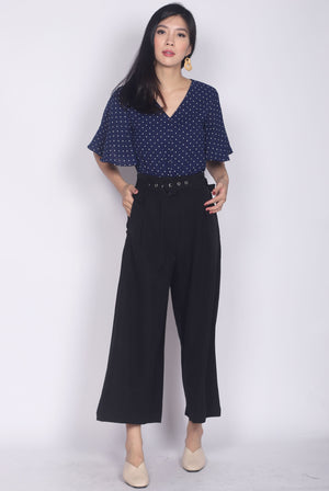 Ginnie Polkadot Sleeved Buttons Top In Navy Blue