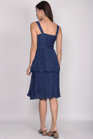Giovanna Waterfall Midi Dress In Navy Dots