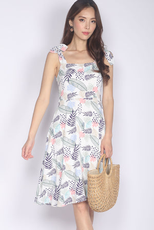 Glema Tie Strap Leafy Dress In Pink