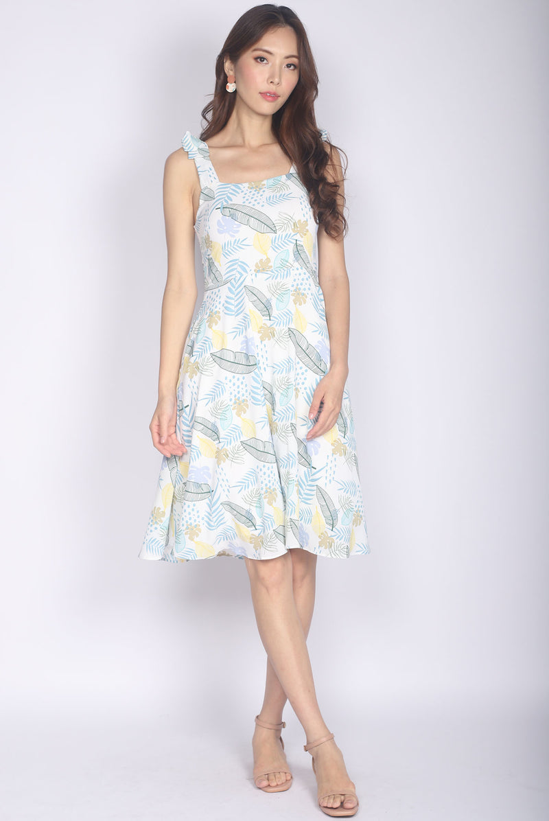 Glema Tie Strap Leafy Dress In Yellow