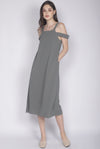 Glynis Drop Shoulder Maxi Dress In Olive