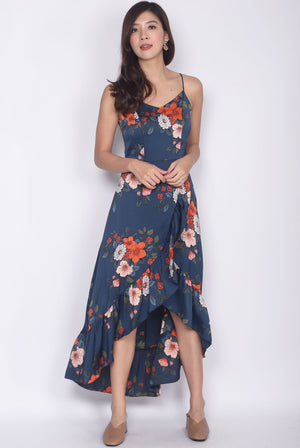 *Premium* Gomeisa Floral Fishtail Maxi Dress In Blue