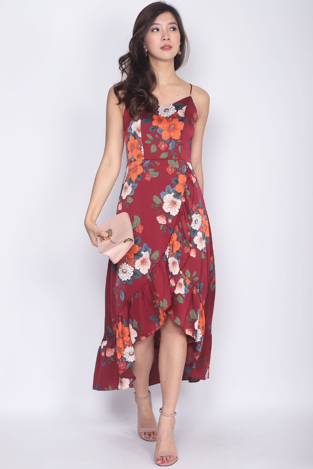 *Premium* Gomeisa Floral Fishtail Maxi Dress In Wine Red