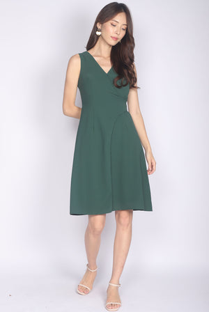 Goneril Wrap Flare Dress In Forest Green