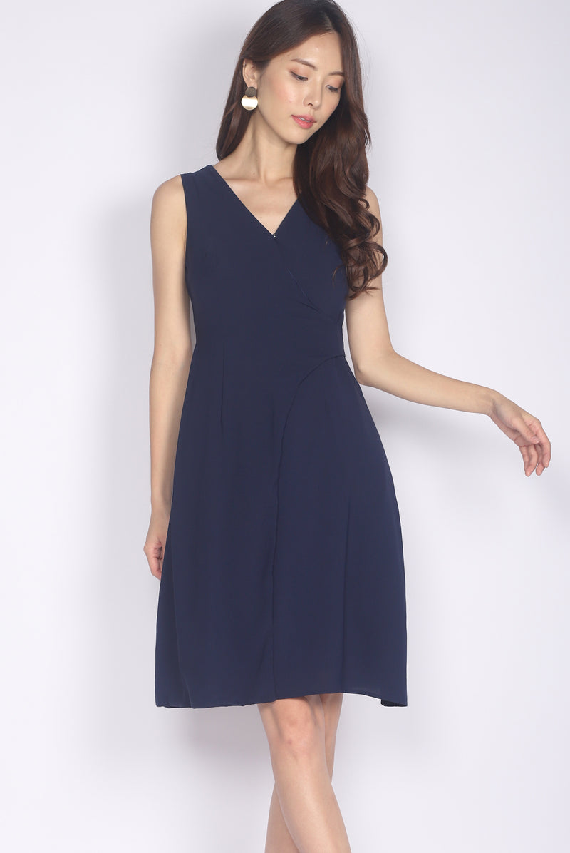 Goneril Wrap Flare Dress In Navy Blue