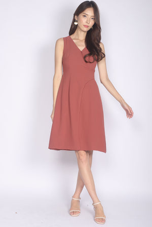 Goneril Wrap Flare Dress In Tea Rose