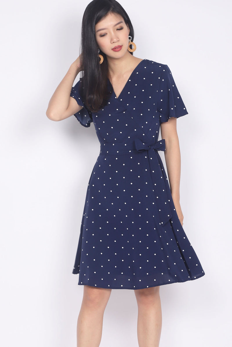 Gracen Polkadot Flare Sleeve Dress In Navy Blue