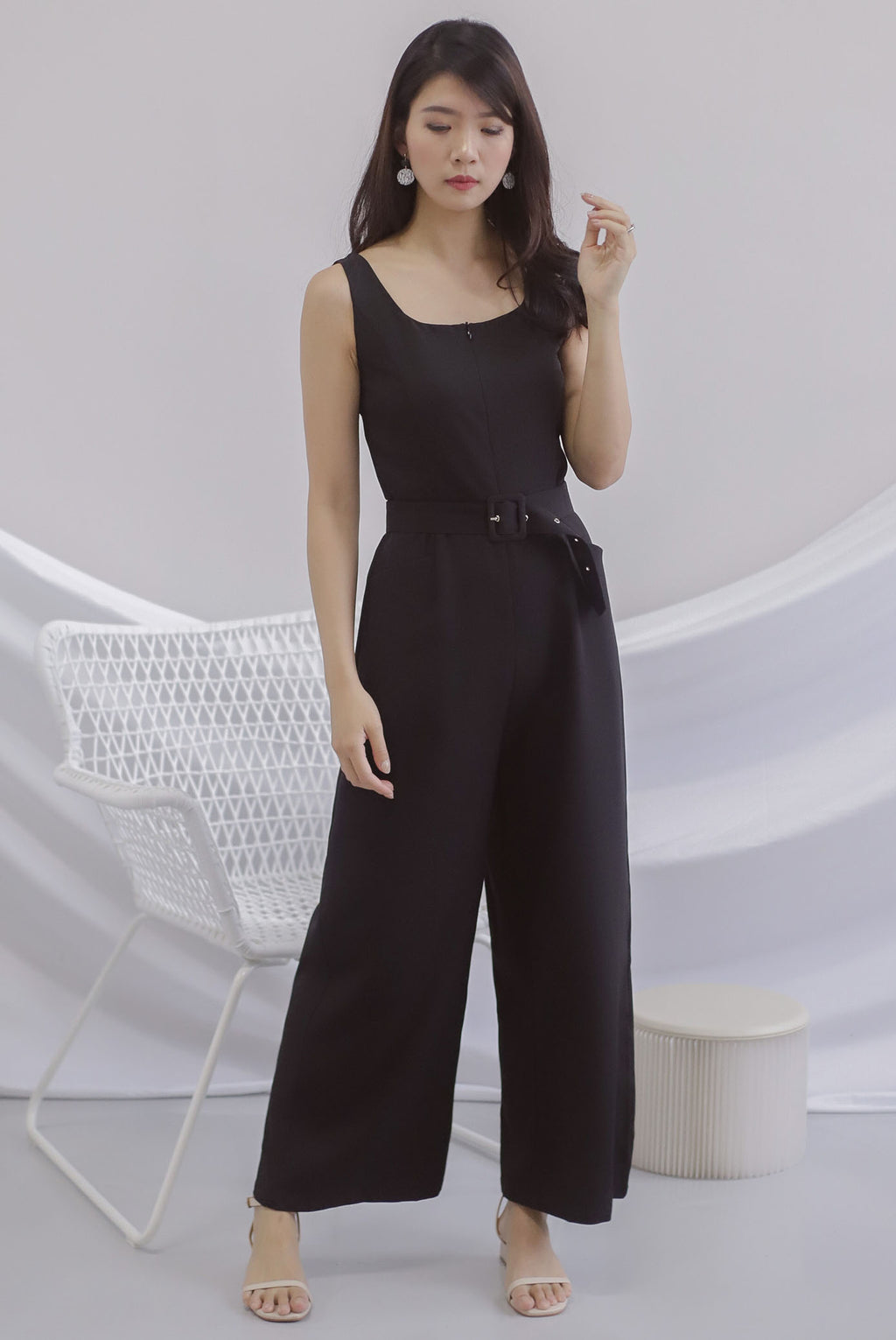 Grayson Front Zip Belted Jumpsuit In Black