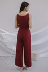 Grayson Front Zip Belted Jumpsuit In Wine Red