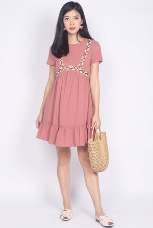 Grecia Embriodery Babydoll Sleeve Dress In Tea Rose