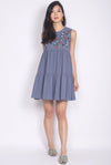Greta Embroidery Babydoll Dress In Blue