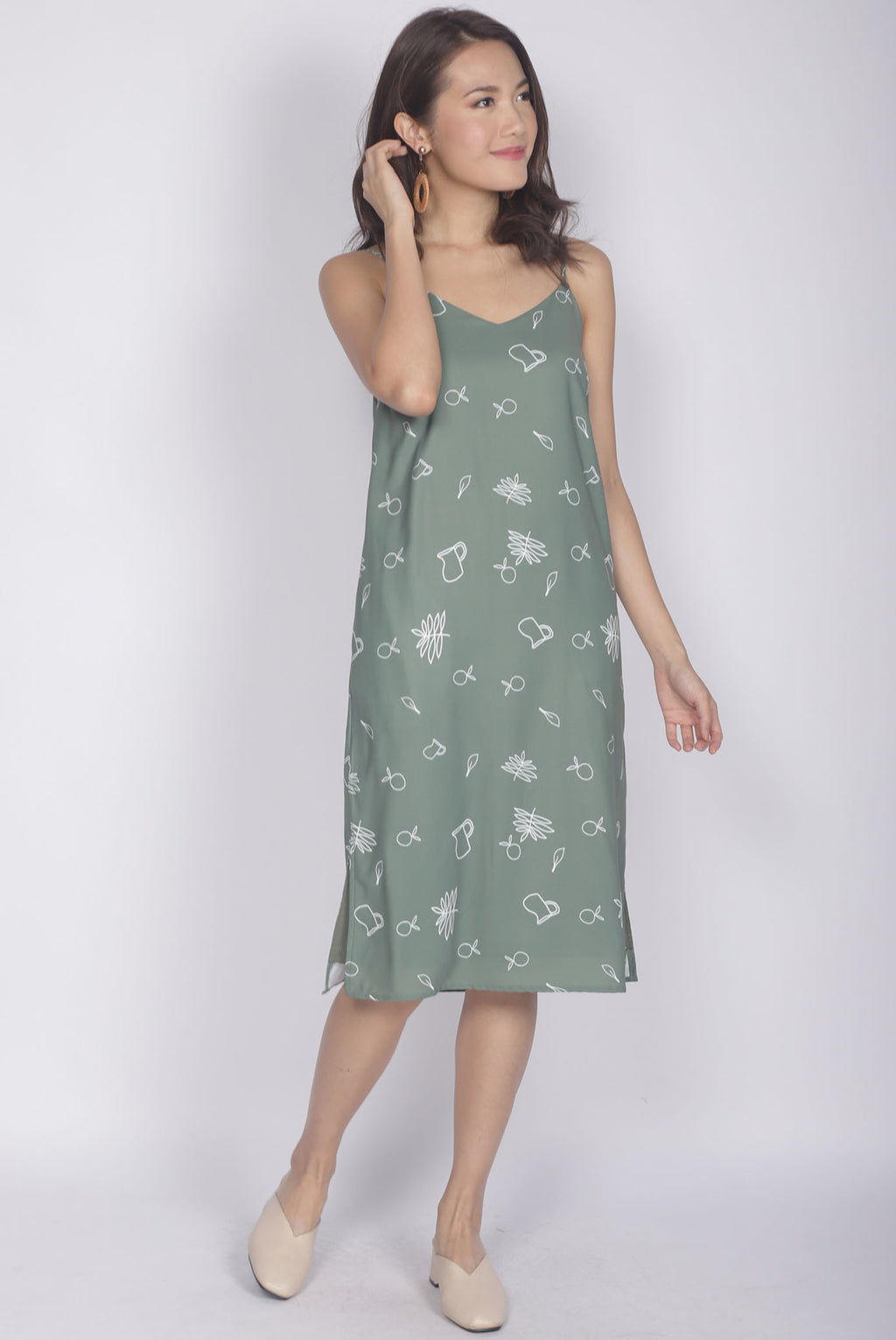 Grete Printed Spag Dress In Green