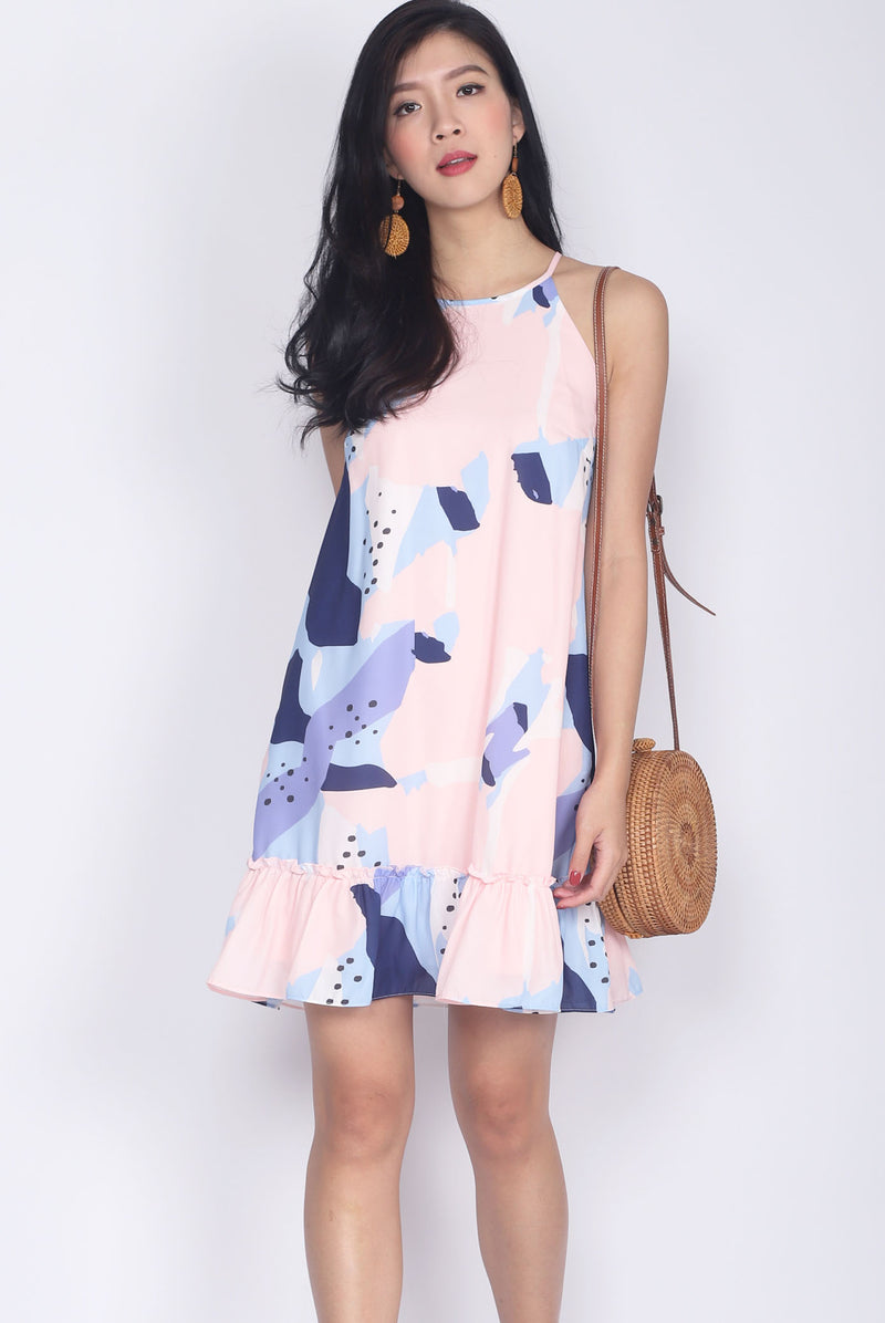 Grigoria Abstract Halter Dress In Pink