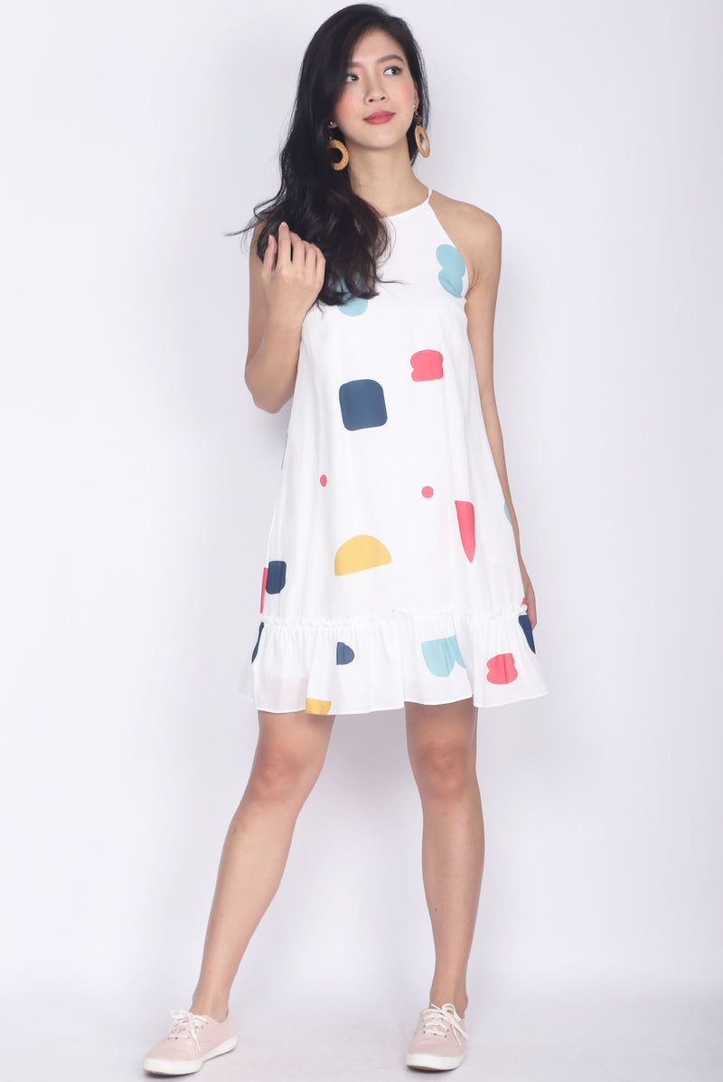 *Backorder* Grigoria Abstract Halter Dress In White