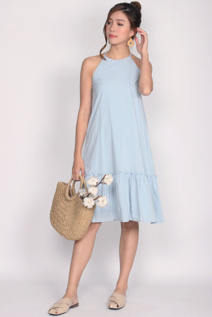 Griselda Ruffle Drop Waist Dress In Blue