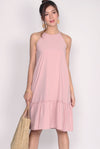 Griselda Ruffle Drop Waist Dress In Pink