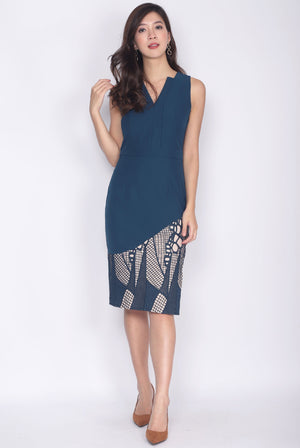 *Premium* Griselle Asymm Collar Lace Pencil Dress In Teal Green