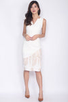 *Premium* Griselle Asymm Collar Lace Pencil Dress In White