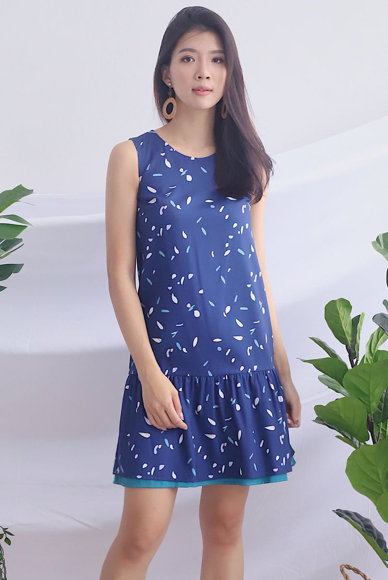 Gussie Colour Paint Reversible Dress In Navy Prints/Teal