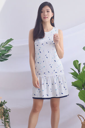 Gussie Colour Paint Reversible Dress In White Prints/Navy