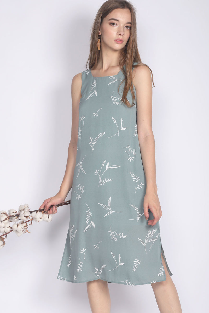 Gusta Midi Side Slit Dress In Sage
