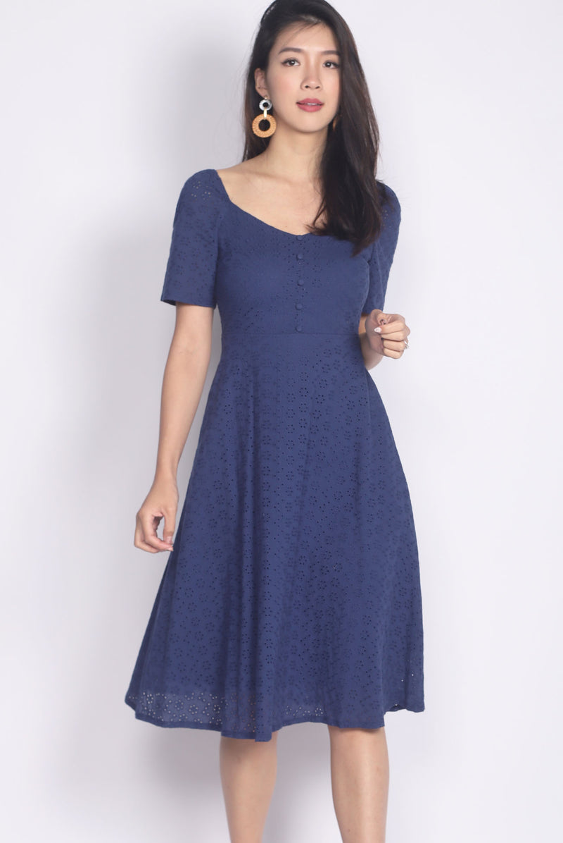 Gwenel Eyelet Sleeved Wide Neck Dress In Navy Blue