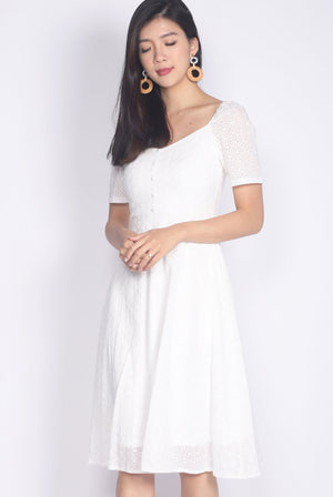 Gwenel Eyelet Sleeved Wide Neck Dress In White