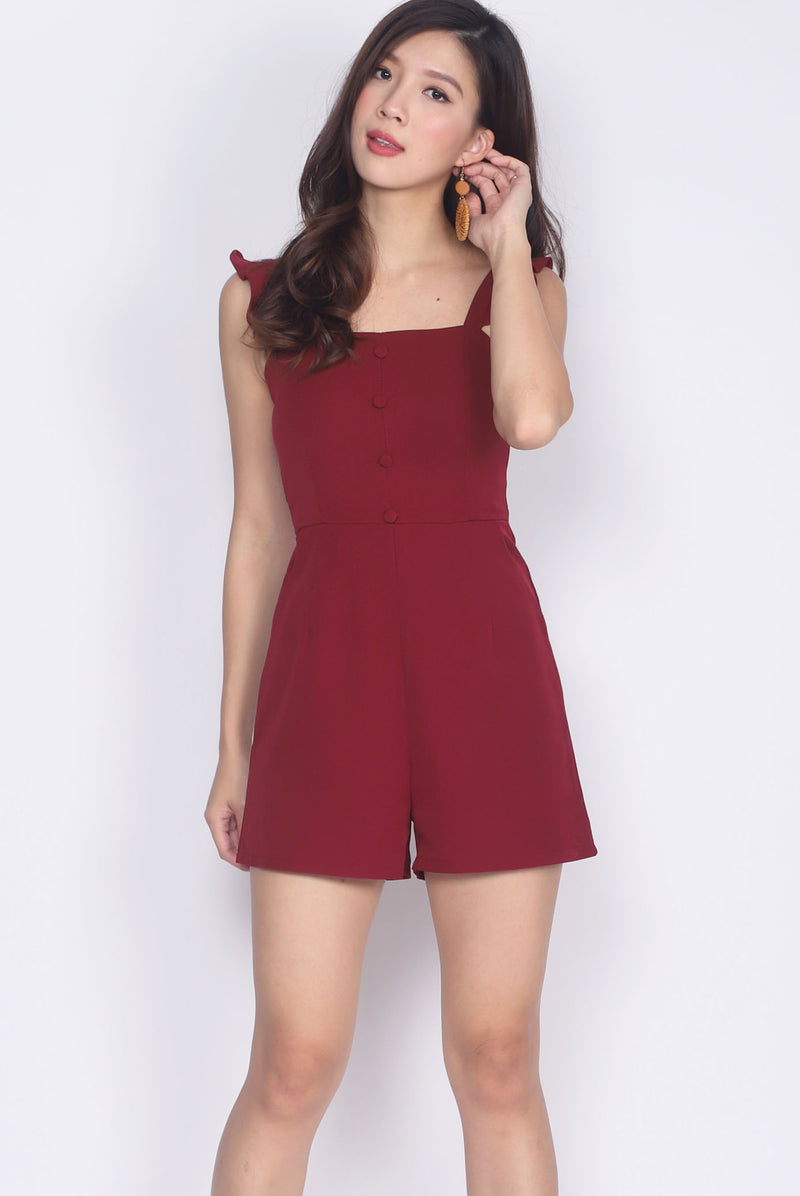 Habika Ruffle Strap Romper In Wine Red