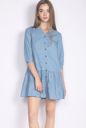 Haddy Denim Tiered Buttons Dress