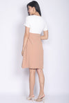Halcyon Paperbag Belted Sleeved Dress In White/Nude