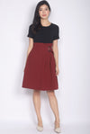 Halcyon Paperbag Belted Sleeved Dress In Black/Wine